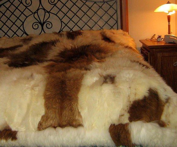 Fur bedspread,Babyalpaka Fur, Kingsize coverlet