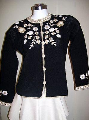 Embroidered cardigan,Jumper knitted of Alpaca wool