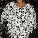 White crocheded Poncho, Alpacawool outerwear