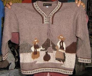 Folklorical Sweater, v-neck, embroidered Alpaca Wool