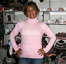 Pink turtleneck,Sweater made of pure Alpacawool