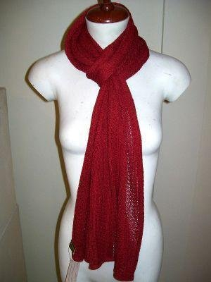 Red crocheted scarf, shawl made of Babyalpaca wool