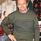 Green sweater, round neck made of pure Alpacawool