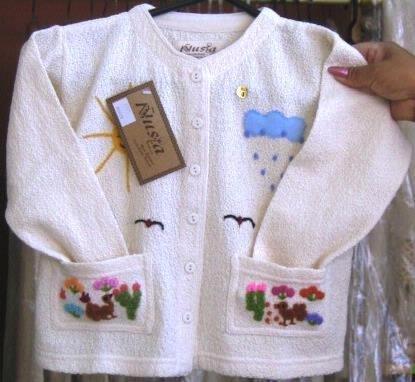 White jumper, jacket of 100% ekological Pyma Cotton