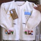 White jumper, jacket of 100% ekological Pyma Cotton