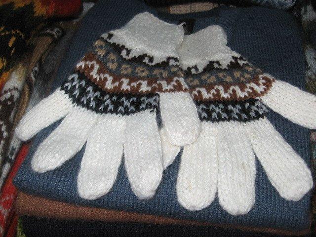 Alpaca wool finger gloves, warm mittens in standart size