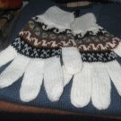 Alpaca wool finger gloves, warm mittens in standart size