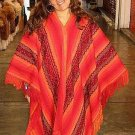 Red peruvian Poncho, outerwear Alpaca Wool