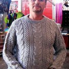 Men sweater, Alpaca wool with cable pattern