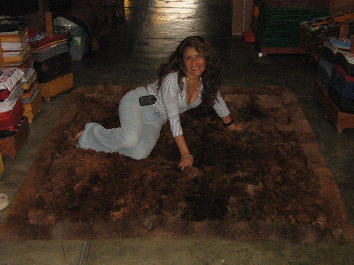 Brown Babyalpaca fur carpet with a size of 78x70, throw
