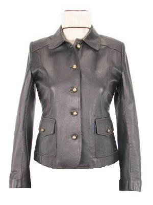 Black women's Leather Jacket with classic Collar