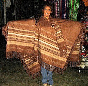 Brown poncho with scarf, pure Alpacawool