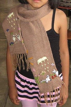 Embroidered scarf for kids, shawl made of Alpacawool