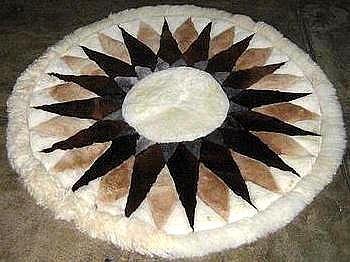 Round Alpaca fur rug ,carpet of 100 cm diameter