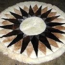 Round Alpaca fur rug ,carpet of 100 cm diameter