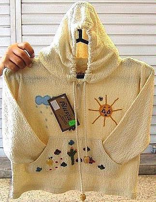White hooded jacket 100% ekological Pima cotton