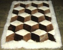 Alpaca fur rug,carpet in 3D design,59x 43 Inches
