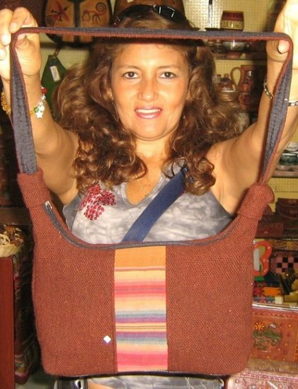 Brown handbag from Peru with an ethno look