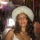White fur cap, hat is made of Babyalpaca fur