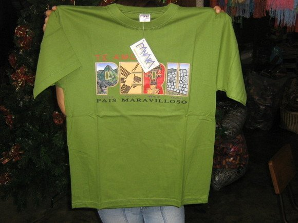 Green T-shirt, Peru print, pure cotton