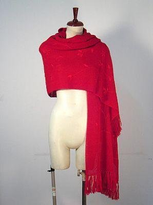 Embroidered red shawl,wrap made of pure Alpaca wool