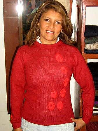 Fashionable red sweater made of pure Baby Alpacawool.  All Sizes in stock