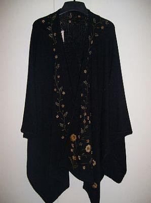 Embroidered Cape,Wrap, pure Alpaca wool