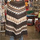 Ethnic peruvian Poncho, natural alpaca wool,outerwear