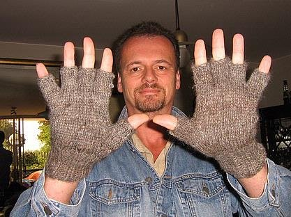 2 pair of gloves,mitten, natural colors made of alpaca wool
