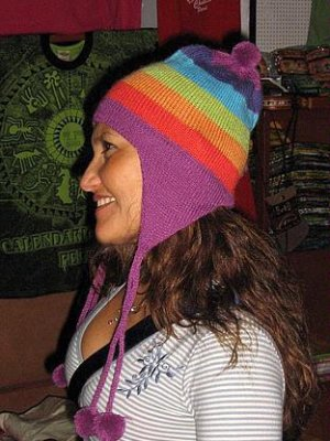 Peruvian rainbow Chullo made of pure Alpacawool,hat