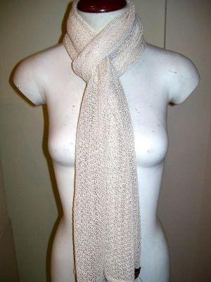 White crocheted scarf,shawl made of Babyalpaca wool