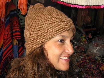 Brown Beanie hat made of alpaca wool, cap