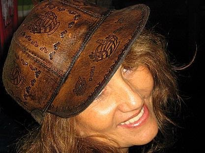 Byker leather cap made of calf leather