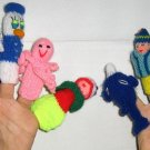 10 Fingerpuppets, handknitted in different designs and alive colors