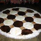 Peruvian round Rug, alpaca fur tricolor, 140 cm
