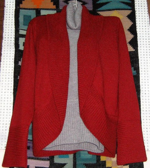 Red Cardigan with a grey sweater, pure Alpacawool