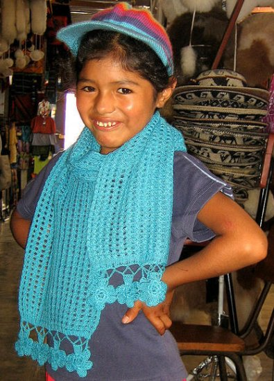 Light blue scarf, shawl made of alpacawool