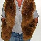 Brown fur Vest made of Babyalpaca pelt,outerwear