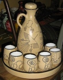 Ethnic ceramic carafe and 6cup , hand painted in Peru