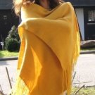 Yellow shawl, wrap made of alpaca wool
