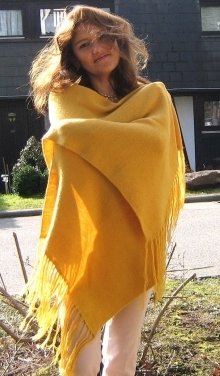 Yellow shawl, wrap made of alpaca wool