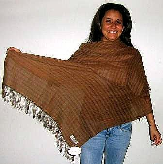 Brown shawl made of pure Babyalpaca wool & Silk