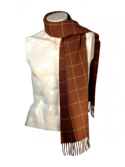 Brown plaid scarf,shawl made of Babyalpaca wool