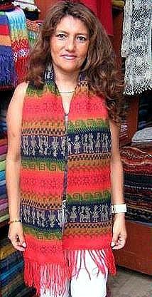 Rainbow colored peruvian scarf,shawl made of alpacawool