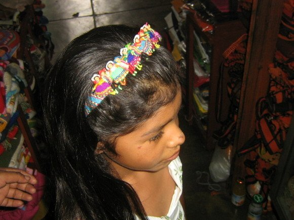 Girls puppet doll hair grip alice band, typical Peru