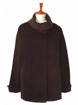 Brown parka,coat with turtleneck, Surialpaca wool