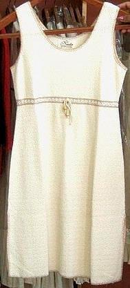 Sleeveles white dress,ecological pima cotton