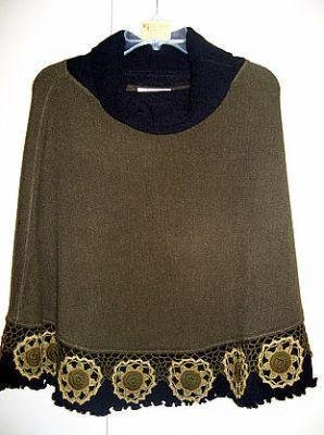 Embroidered turtleneck Poncho,Alpacawool,outerwear