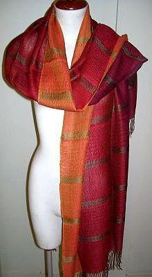 Red weaved shawl,scarf mix Babyalpaca wool and Silk