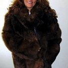 Brown midi fur jacket,Babyalpaca pelt,outerwear